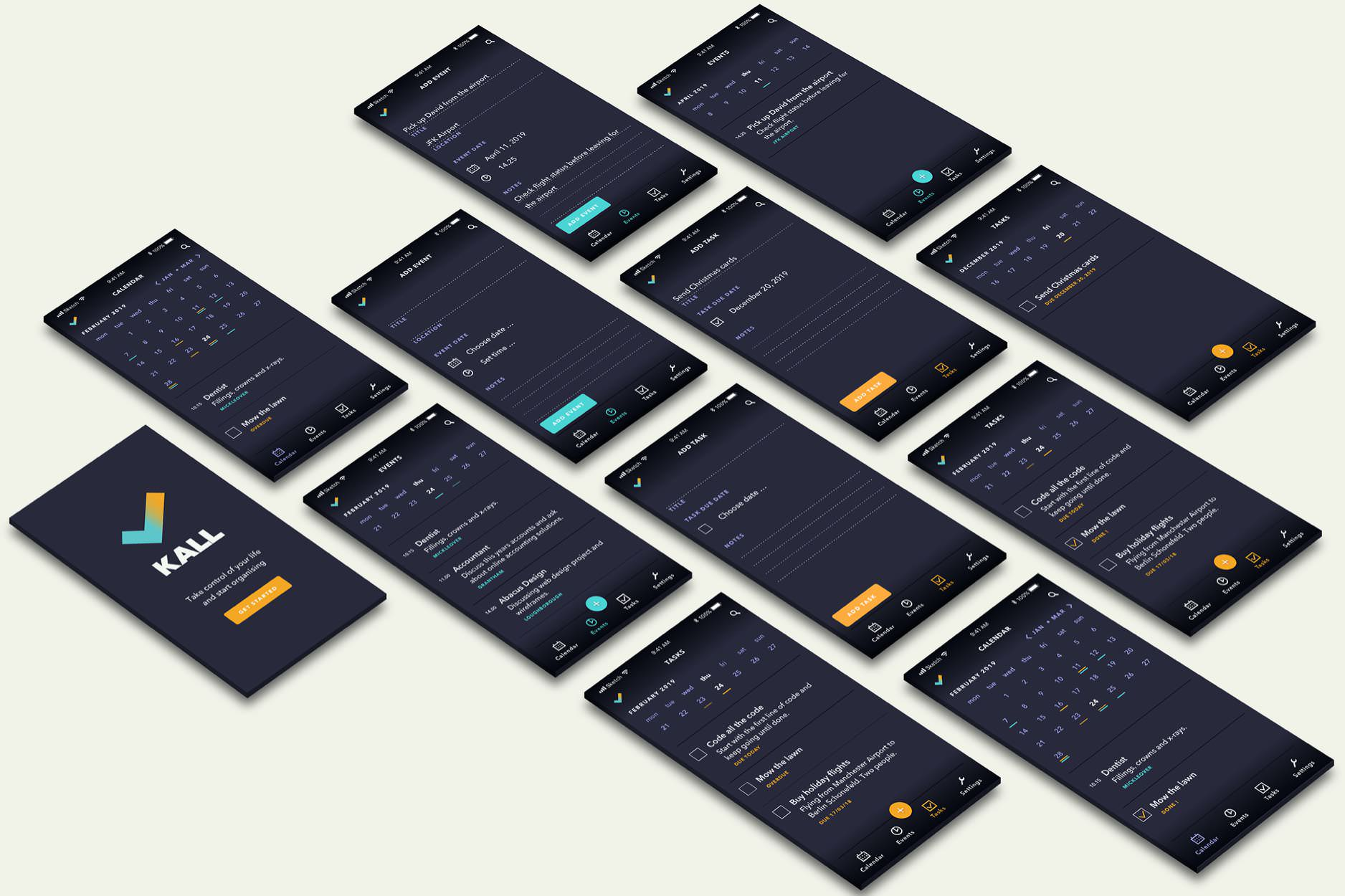 Selection of different screens of Kall, a task manager app.