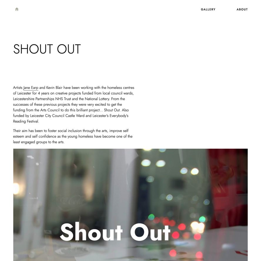 Thumbnail image of the Shout Out website.